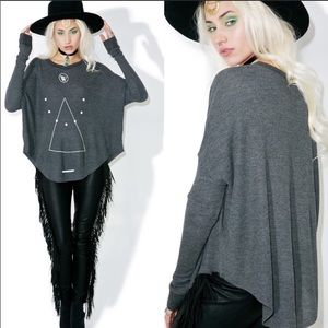 WILDFOX Don't Tell Perry Thermal Gray Tee Top XS